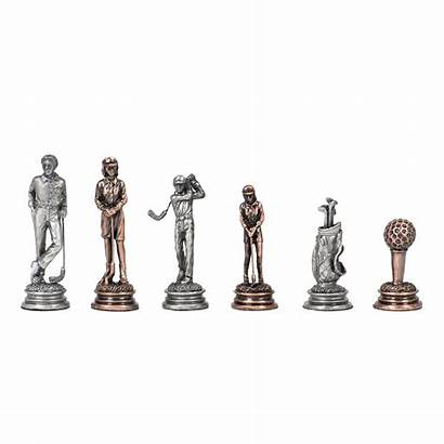 Golf Chess Checkers Board Pewter Wood Chessmen