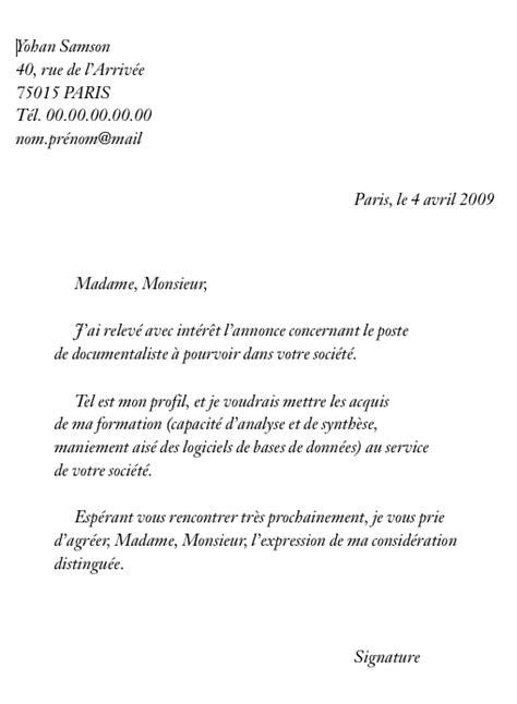 Exemple De Cv Pour Un Emploi by Un Exemple De Lettre De Motivation Pour Un Emploi