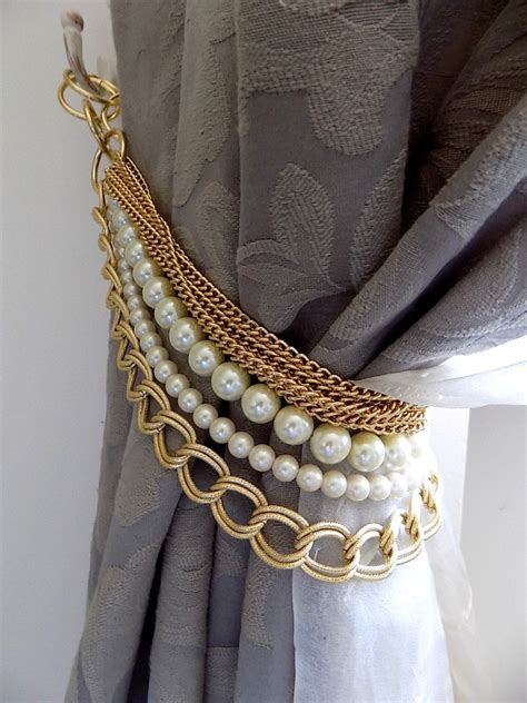 drape holder beaded decorative curtain holder tie back with golden chain