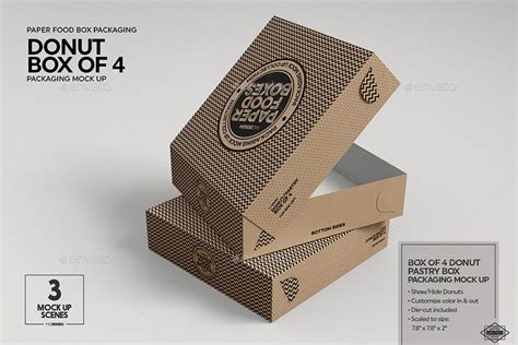 Boxes, wine bottles, digipack and other great packaging mockups available to free download. Box of 4 Donut / Pastry Box Packaging Mockup