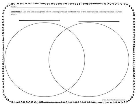 blank venn diagram graphic organizer worksheet blank