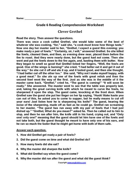 printables  comprehension  grade   questions