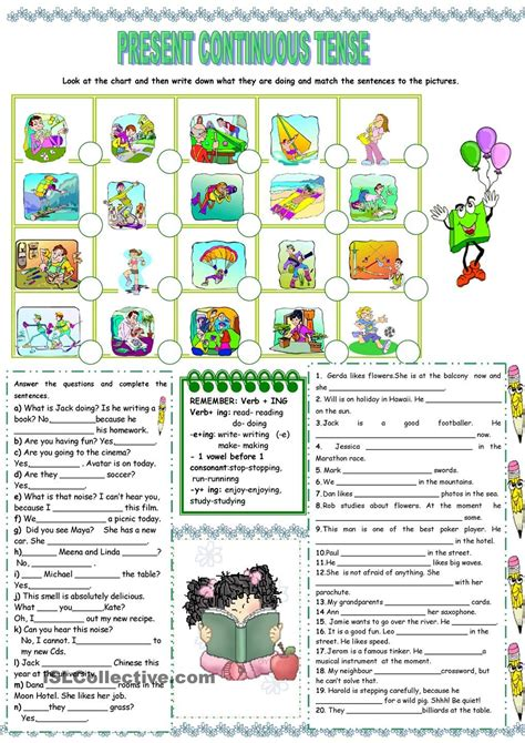 present continuous tense worksheet kindergarten level