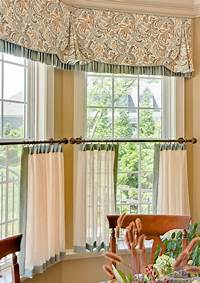 valances for bay windows a casual window treatment consisting of a contrast-trimmed valance and contrast-trimmed cafe ...
