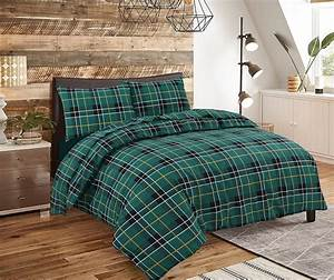 Brushed, 100, Cotton, Check, Duvet, Set, In, Grey, Green, And, Red
