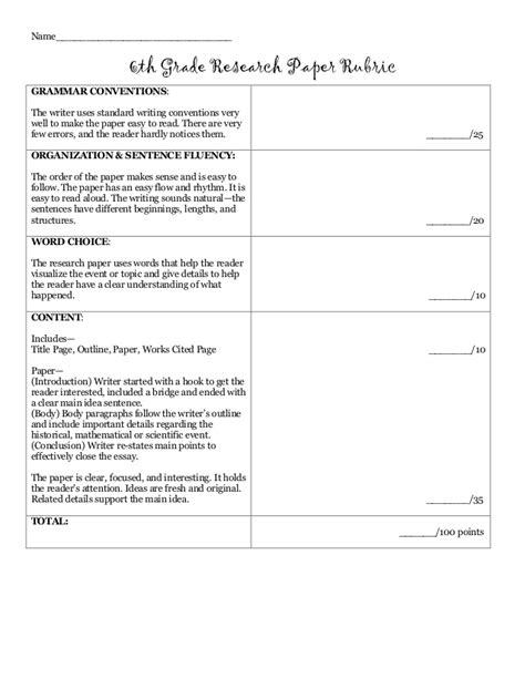 6th Grade Research Paper Rubric