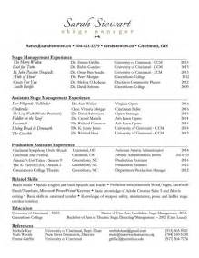 stage management resume exles sle stage management resume researchmethods web fc2