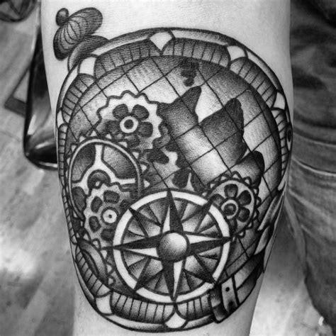 traditional compass tattoo designs  men  school