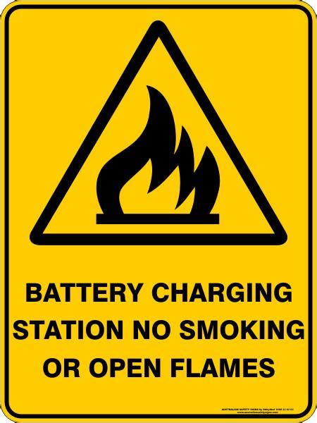 battery charging station  smoking  open flames