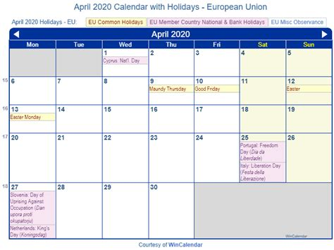 print friendly april eu calendar printing