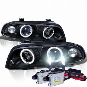 Hid Xenon   99-01 Bmw E46 3-series 4dr Angel Eye Halo Projector Headlights