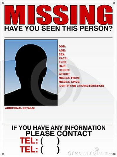 Missing Poster Template 10 Missing Person Poster Templates Excel Pdf Formats