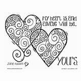 Coloring Adult Austen Jane Quote Valentines Valentine Heart Printable Husband Boyfriend True Adults Sheets Hearts Quotes Colouring Cool Mandala Template sketch template