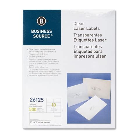 business source  clear shipping labels laser labels
