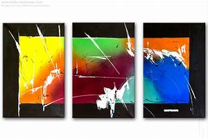 Tableau Moderne Coloré : triptyque contemporain panoramique multicolore tendance tableaux modernes color s rectangle ~ Teatrodelosmanantiales.com Idées de Décoration