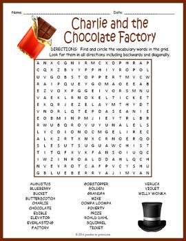 charlie   chocolate factory word search puzzle