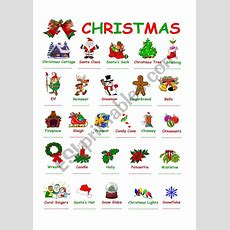Christmas Vocabulary With Pictures  Esl Worksheet By