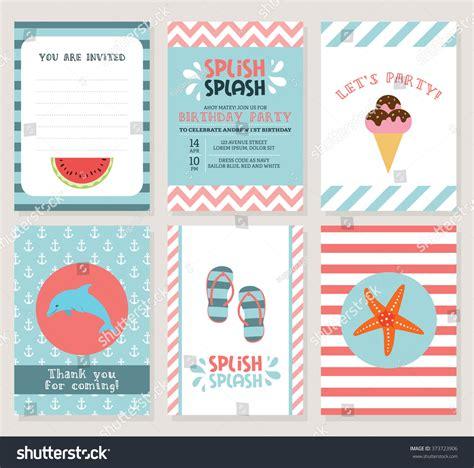 birthday card summer fun splash invitation stock vector