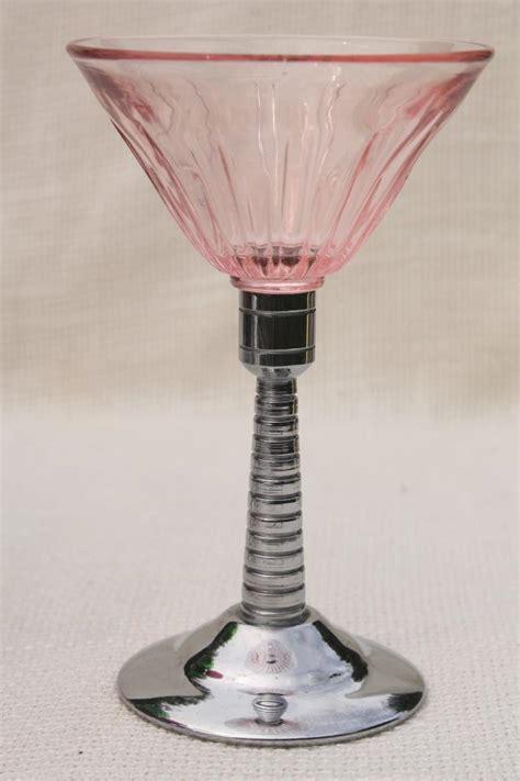 vintage martini glasses colored glass chrome cocktail set art deco style mod