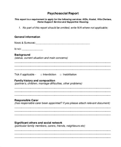psychosocial assessment template sle psychosocial assessment form 8 free documents in doc pdf