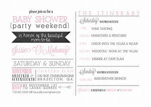 Sugar queens weekend itinerary invites for Bridal shower itinerary template