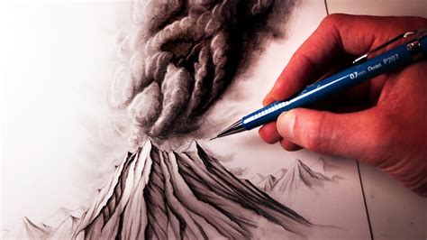 How To Draw A Volcano Youtube