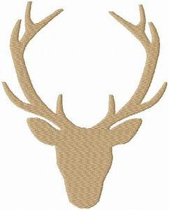 Deer Head Silhouette with Antlers - Comes in Fill Stitch ...
