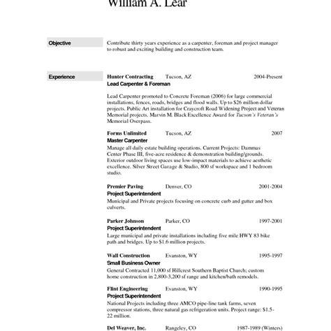 18309 construction resume templates foreman carpenter construction worker resume template free for