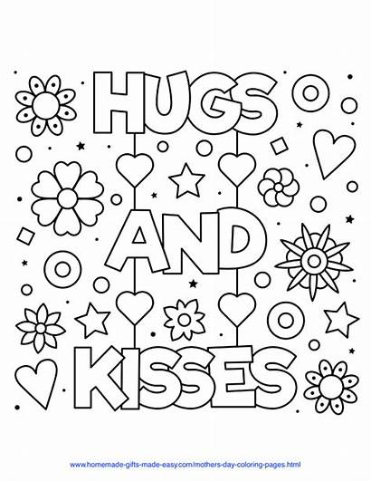 Coloring Mothers Hugs Kisses Mother Easy Hearts