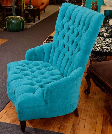 Tufted Leather Chair And A Half by Vintage Turquoise Blue Tufted Quot Chair And A Half Quot At 1stdibs