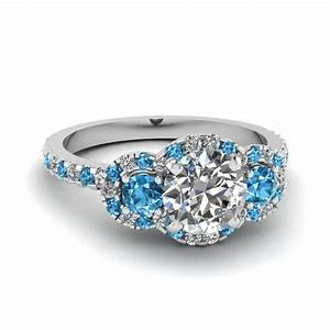Purchase our blue topaz halo engagement rings at for Halo engagement rings with wedding bands
