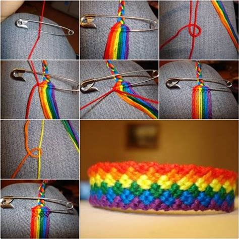diy weave rainbow color baubles bracelet pictures