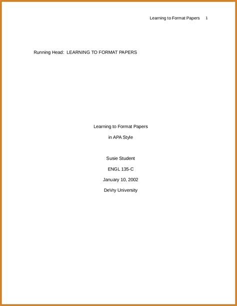 Apa Title Page Template Apa Format Title Page 6th Edition Template Gallery