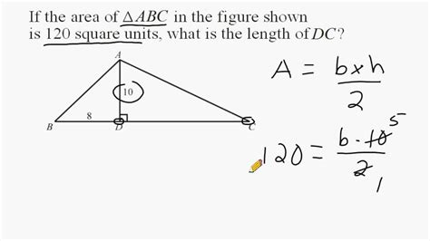 triangle area  find unknown length
