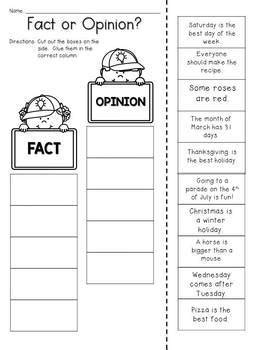 fact and opinion worksheets cut and paste fact and opinion cut and paste activity by jh lesson design tpt