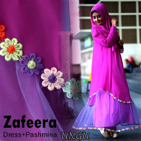 zafeera dress ungu baju muslim gamis modern