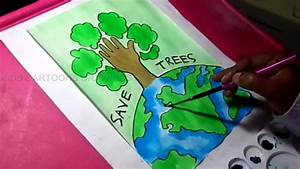 How To Draw Save Trees And Earth Environment Drawing