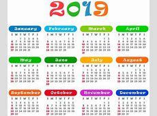 2019 Colorful Calendar Transparent PNG Image Gallery