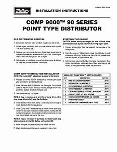 Mallory Ignition Mallory Comp 9000 90 Series Point Type Distributor User Manual