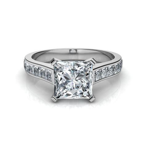 princess cut engagement ring   side diamonds natalie