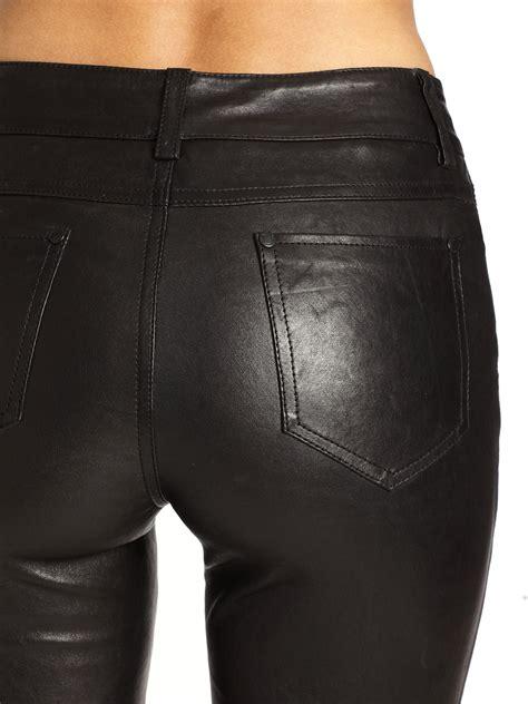 alice olivia leather  pocket skinny pants  black lyst