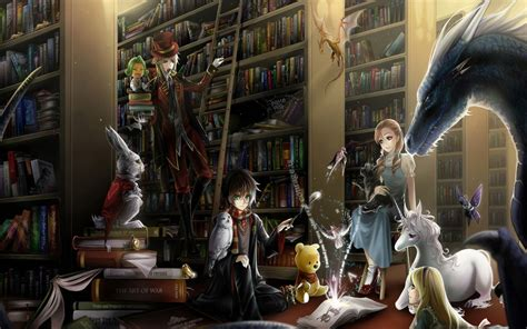 fantasy books library hd wallpaper background image