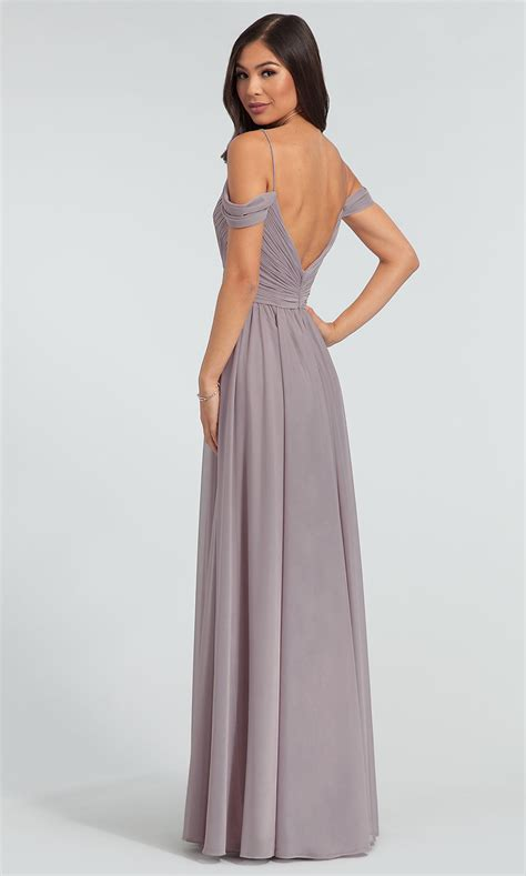 cold shoulder long kleinfeld bridesmaid dress