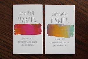 Hand lettering watercolor business card design branding for Business card ideas for artists