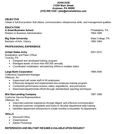 Exle Of A Resume by Resume Exles