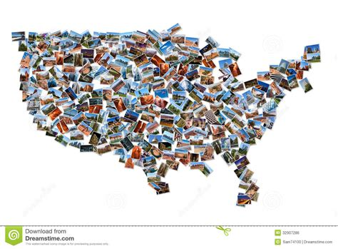 Usa Map Shape Drawn With Pictures Stock Photo