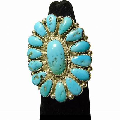Sleeping Turquoise Beauty Silver Sterling Cluster Ring