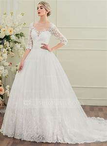 robe marquise col rond traine mi longue robe de mariee With robe de mariée jjshouse