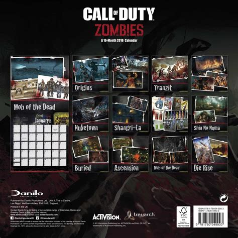 call duty zombies calendars europosters