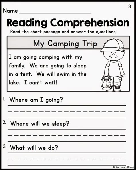 free comprehension worksheet for kindergarten